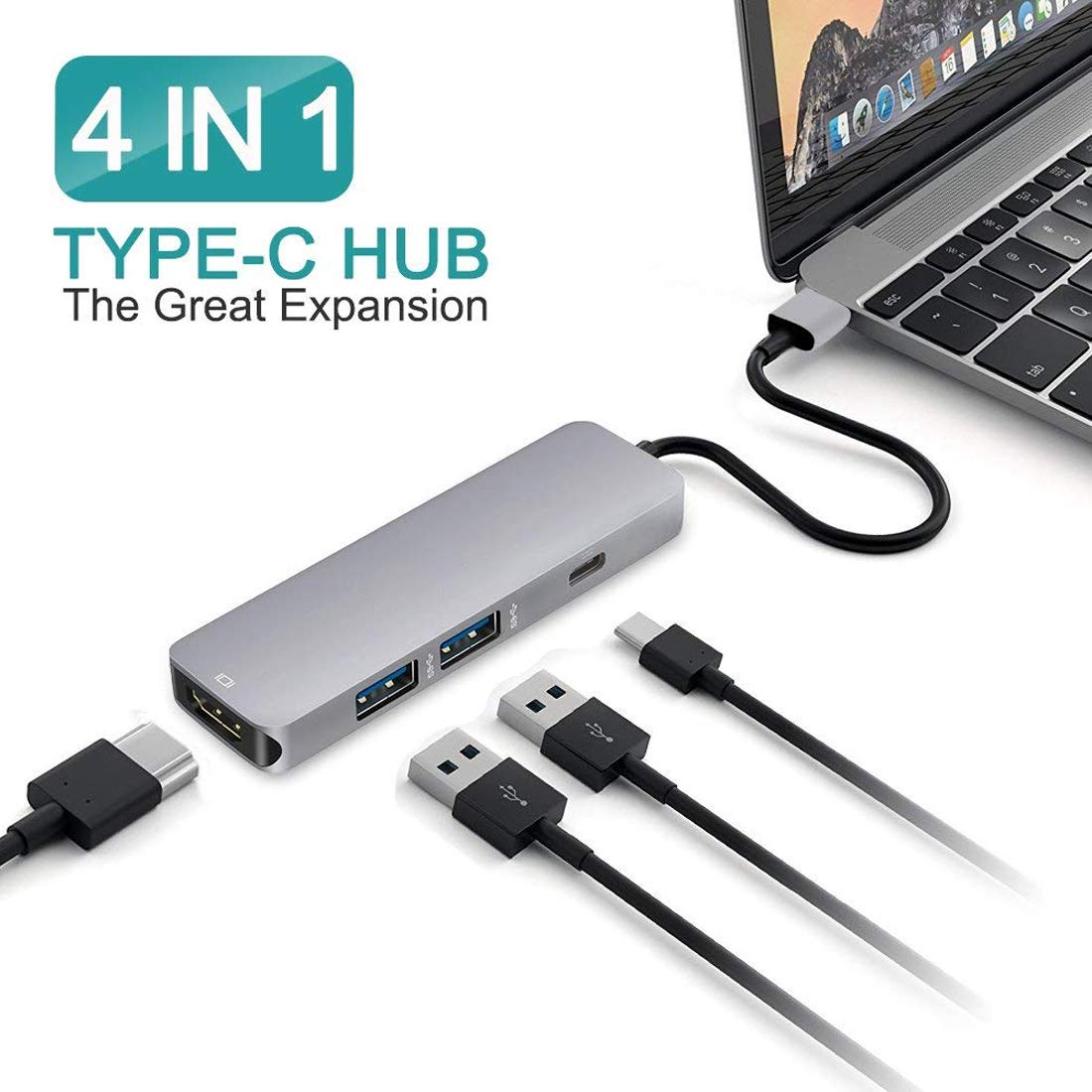 STYLETECK USB C to HDMI Adapter, Type C Hub with 4K, 2 USB 3.0 and PD Charging Ports Compatible with Apple iMac, MacBook Pro, Nintendo Switch, Lenovo, Laptop, Samsung S8 S9 Plus Smartphones and More