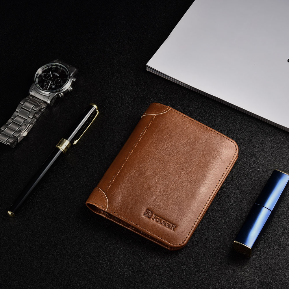 Handmade Mens Leather Wallet with Coin Pocket,