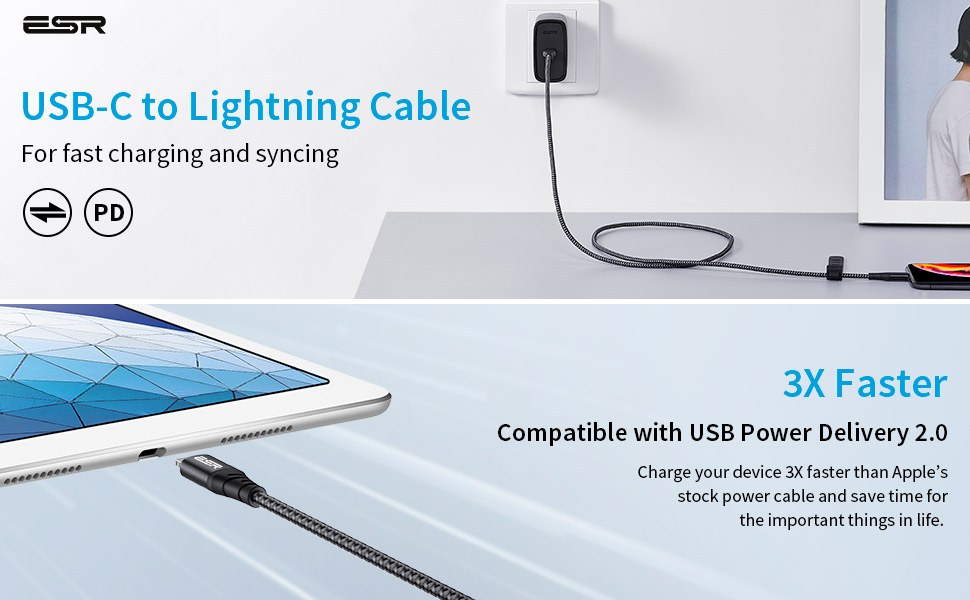 ESR USB C to Lightning Charging Cable Apple Certified