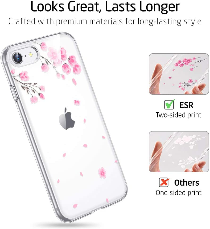 ESR iPhone SE (2020), iPhone 8 Case, iPhone 7 Case, Clear Soft Silicone Case for girls
