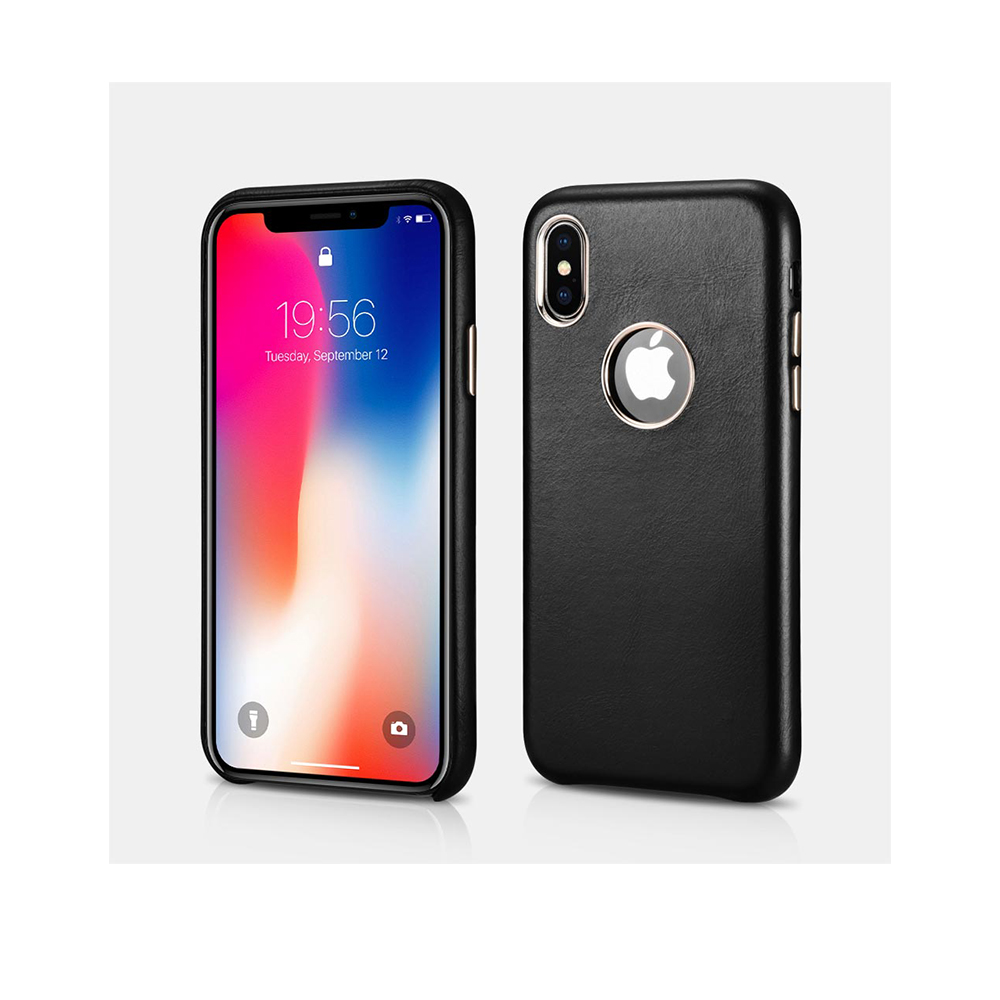 iCarer Original Leather Case for iPhone XS Max Black with Logo Cut design