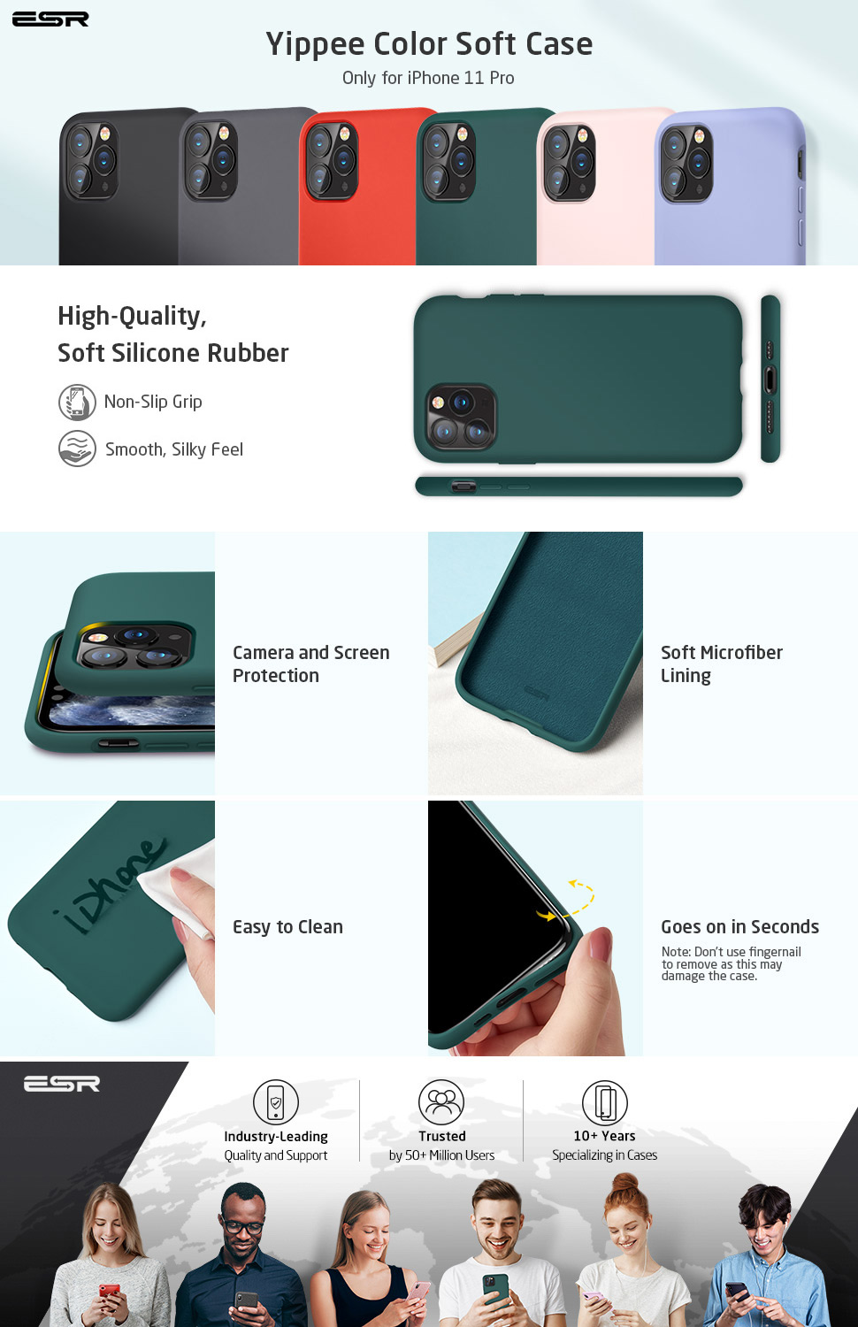 iPhone 11 Pro Max Silicone Case Pine Green by ESR