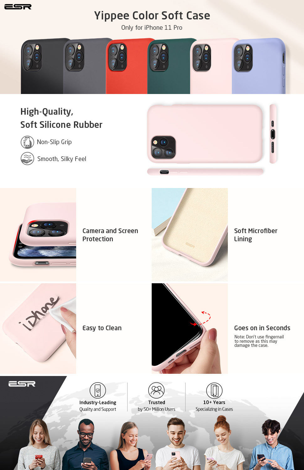 iPhone Silicone case Pink for iPhone 11 Pro