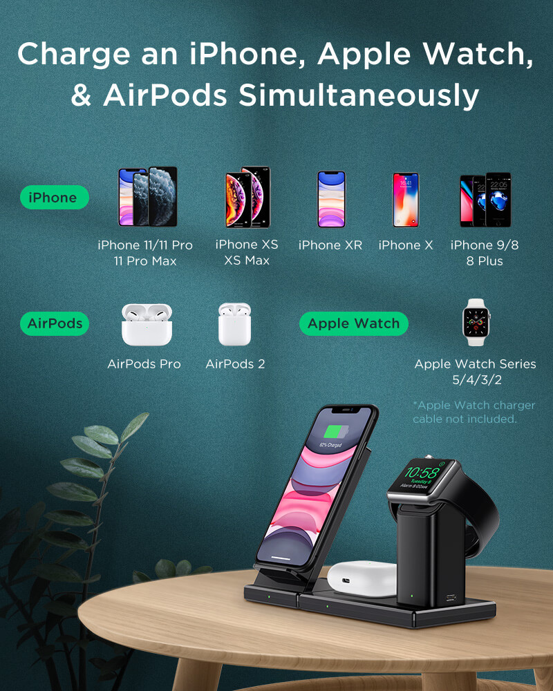 Charge an iPhone, Apple Watch and Airpods Simultaneously