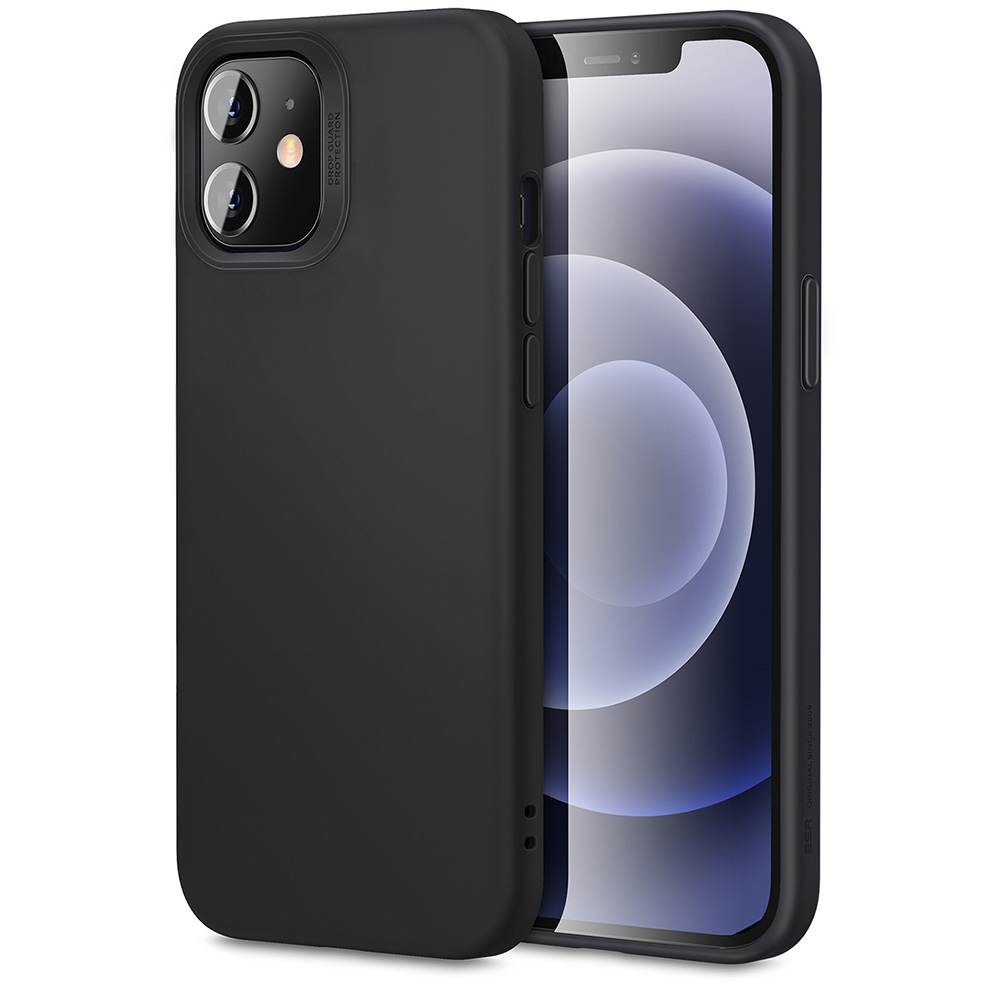ESR Soft Case for iPhone 12, iPhone 12 Pro [Silicone Rubber Case] [Comfortable Grip] [Screen & Camera Protection] Black