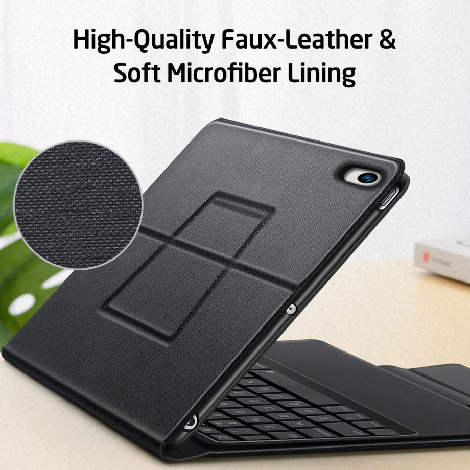 ESR iPad bluetooth Keyboard cover with high quality faux leather