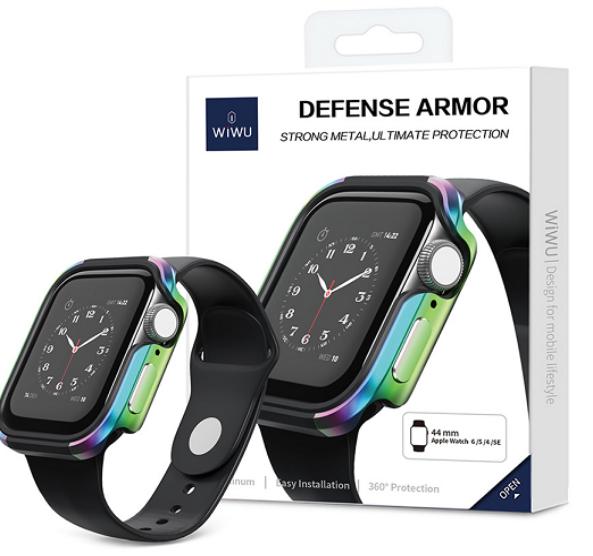 X-Doria Defense Edge Case Compatible with 44mm Apple Watch - Premium Aluminum & TPU Bumper Frame, Compatible with Apple Watch Series 4, Series 5, and Series 6(Black/Black)