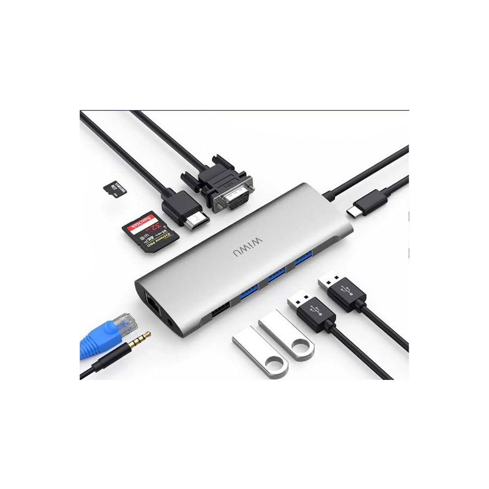 WiWU Alpha 11 in 1, WiWU Type C Hub, 11 in 1 Adapter with USB C to RJ45, HD MI, VGA, 4USB, Card Reader, 3.5 mm audio and Type C for Macbook Pro