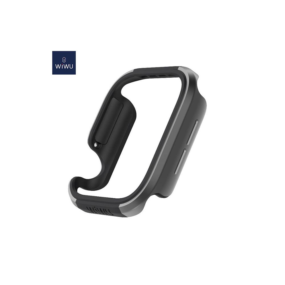 WIWU Defense Edge Case Compatible with 44mm Apple Watch - Premium Aluminum & TPU Bumper Frame, Compatible with Apple Watch Series 4, Series 5, and Series 6(Black/Black)