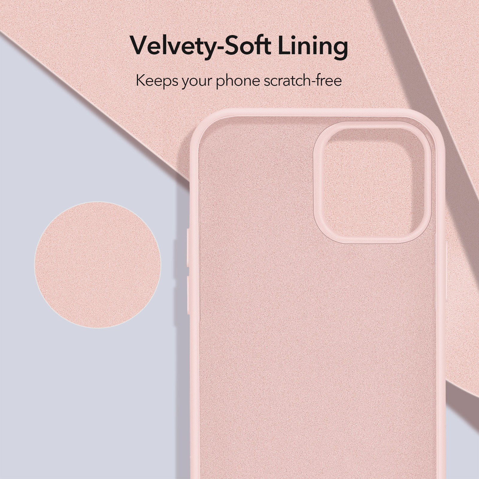 ESR Soft Silicone velvety soft lining Case Sand Pink for iPhone 12 Pro