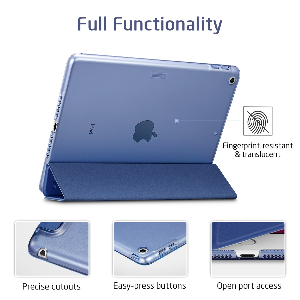 Trifold Stand and Auto Sleep/Wake, Translucent Frosted Back for iPad