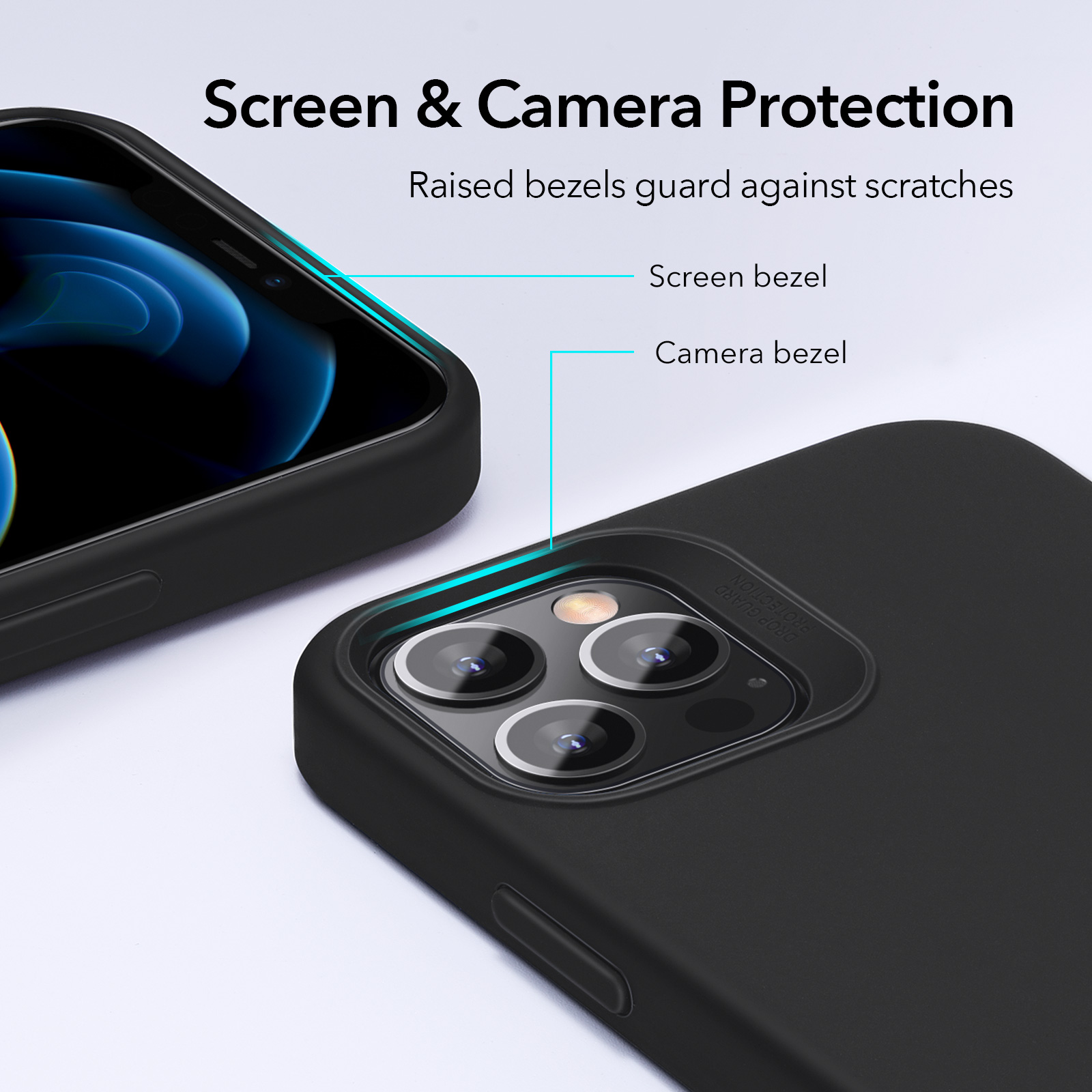 Screen and camera protective case for iphone 12