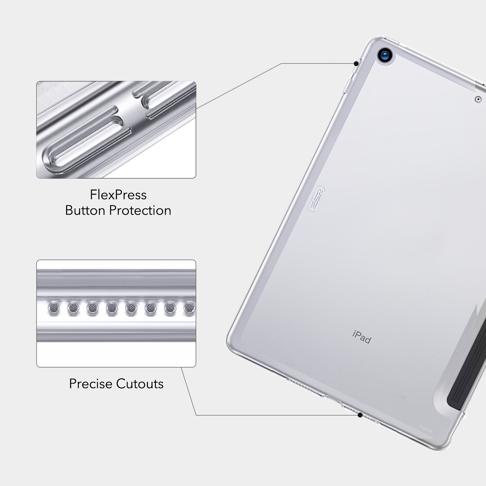 Crystal Clear Hard Back case with flex press button protection for iPad
