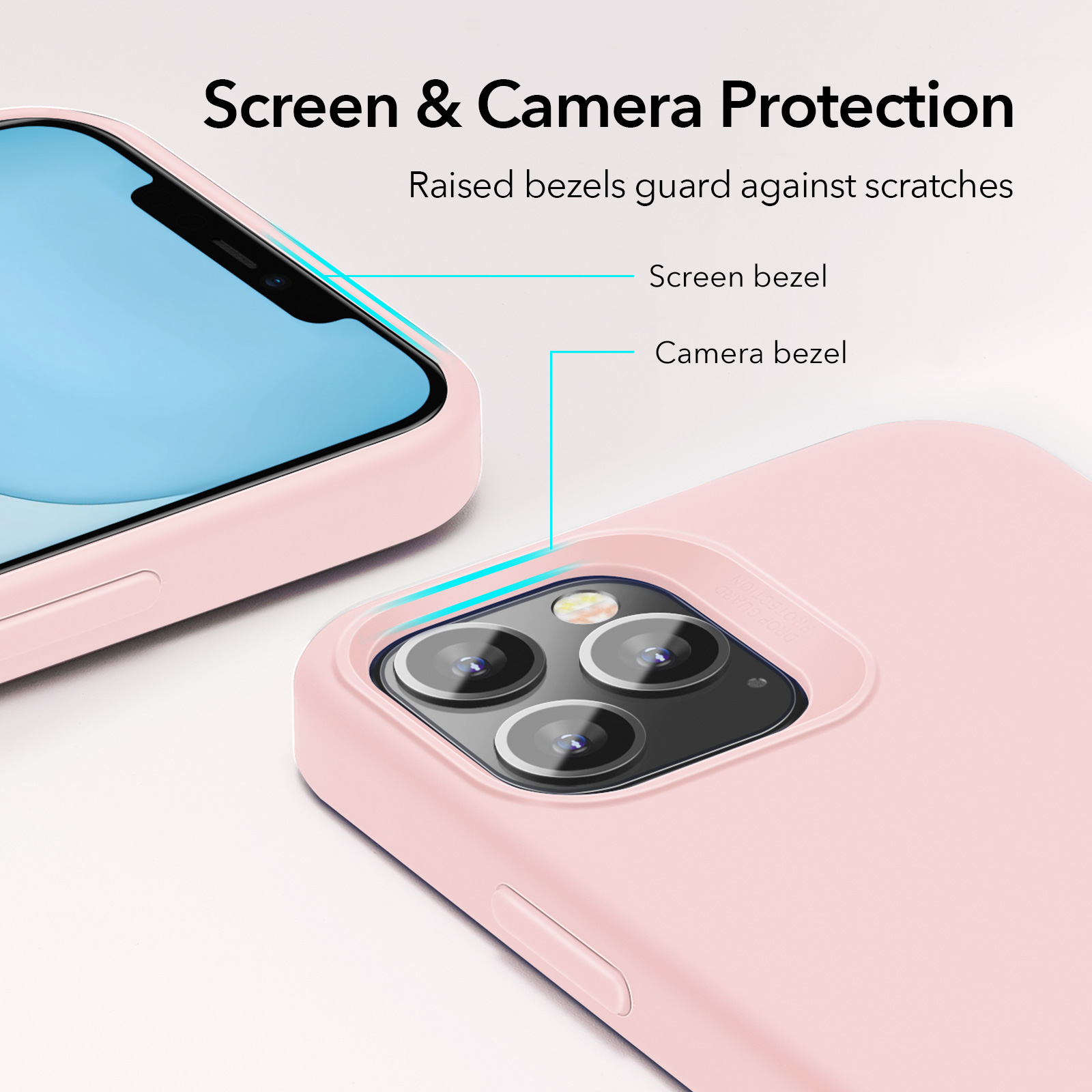 ESR Soft Silicone screen and camera protective Case Sand Pink for iPhone 12 Pro