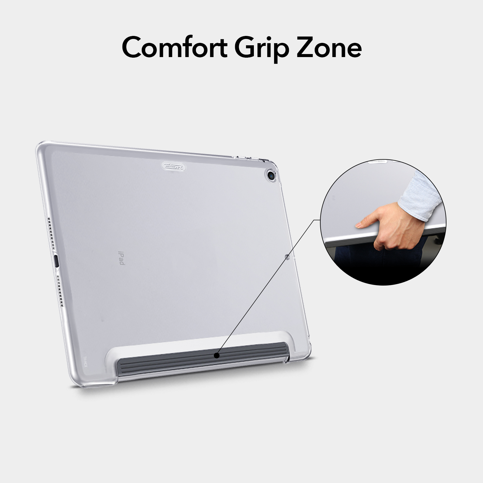 Crystal Clear hard back case with comfort grip zone for iPad Pro