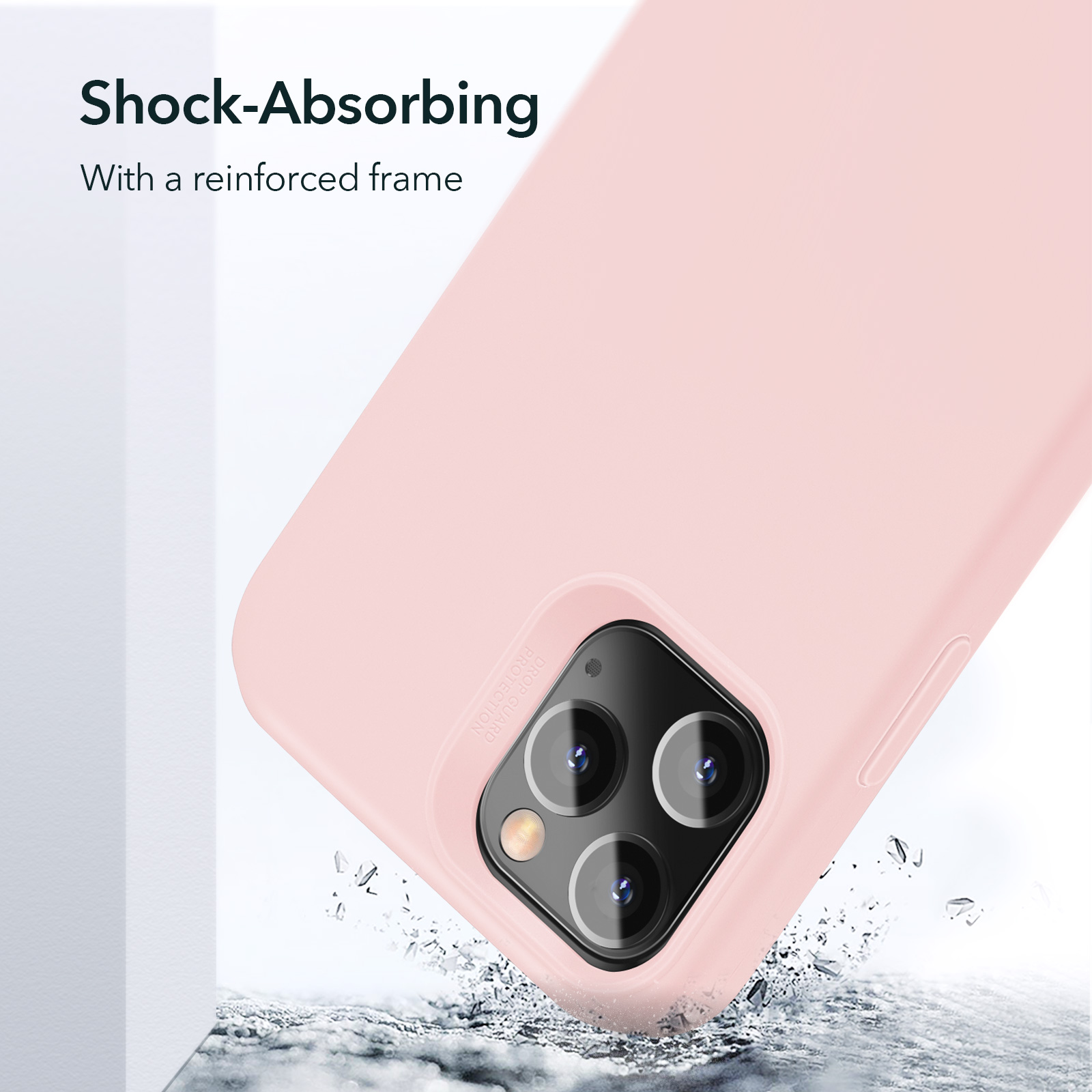 ESR Soft Silicone Case with a reinforced frame Sand Pink for iPhone 12 Pro Max