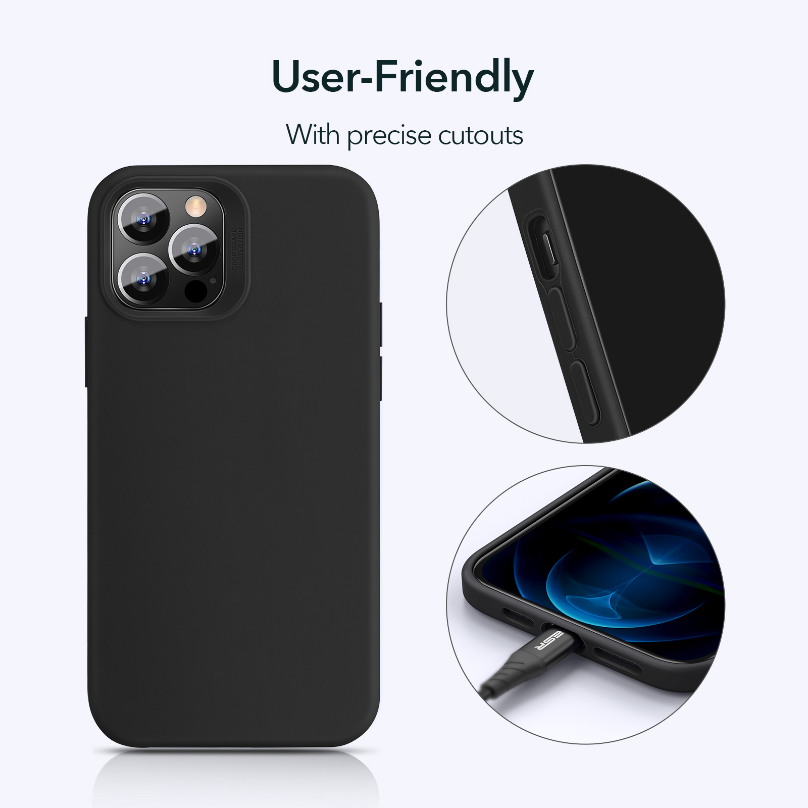Silky smooth Silicone user-friendly case for iPhone 12 Black