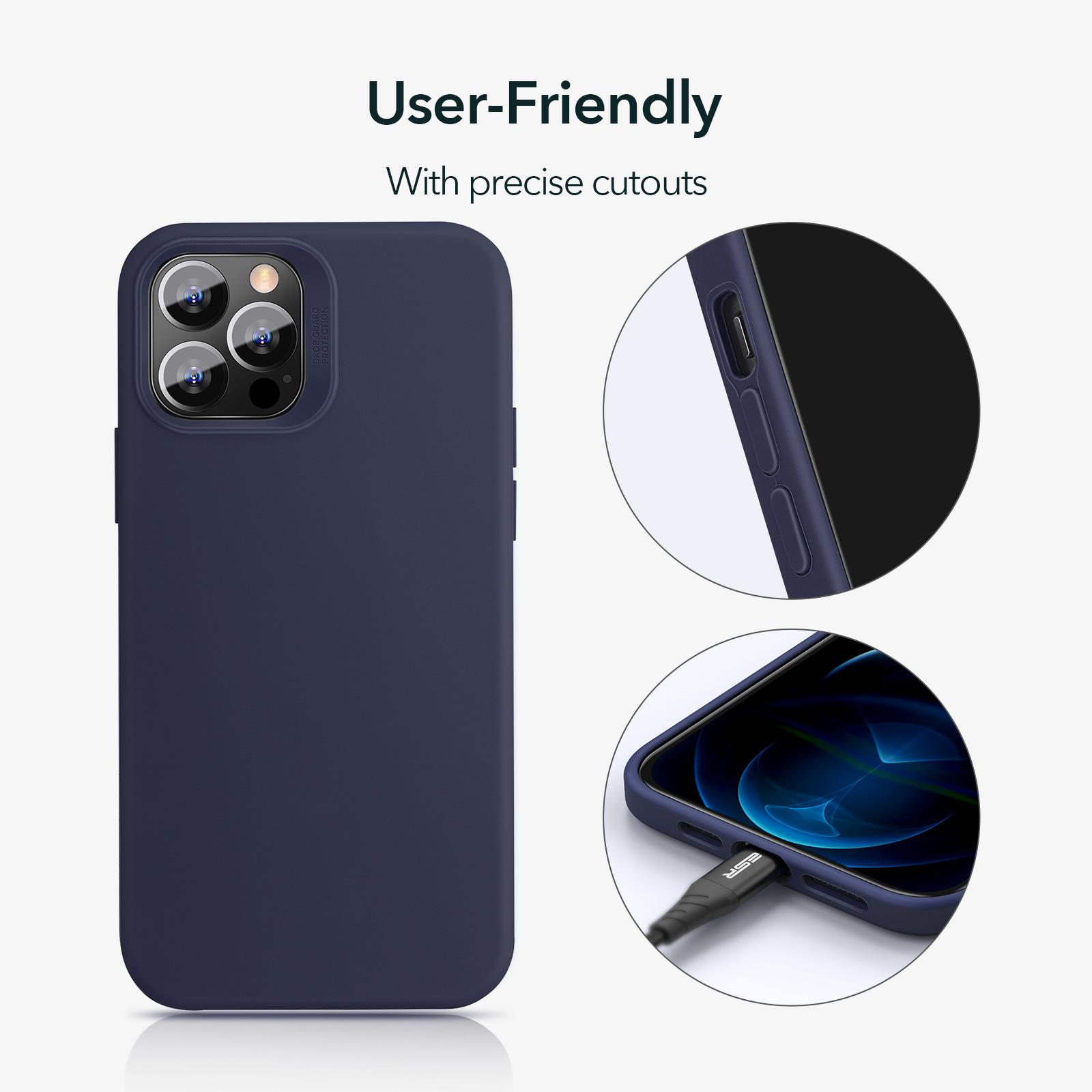 ESR precise cutout silicone case Midnight blue for iPhone 12