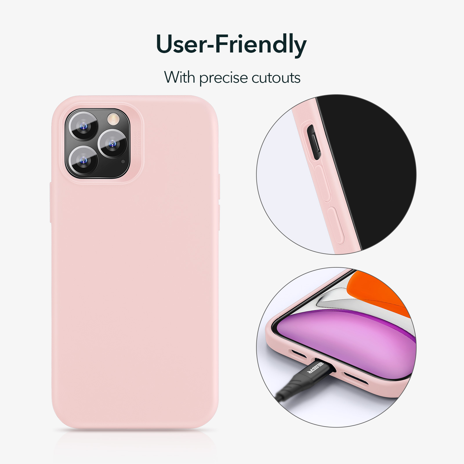 ESR Soft Silicone Case with precise cutouts Sand Pink for iPhone 12