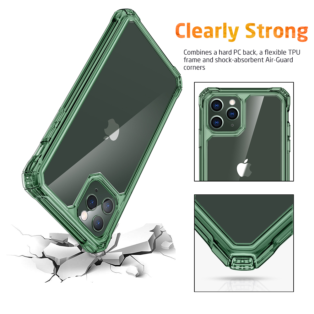 Combines a hard PC back, a flexible TPU frame and shock-absorbent Air-Guard Corners