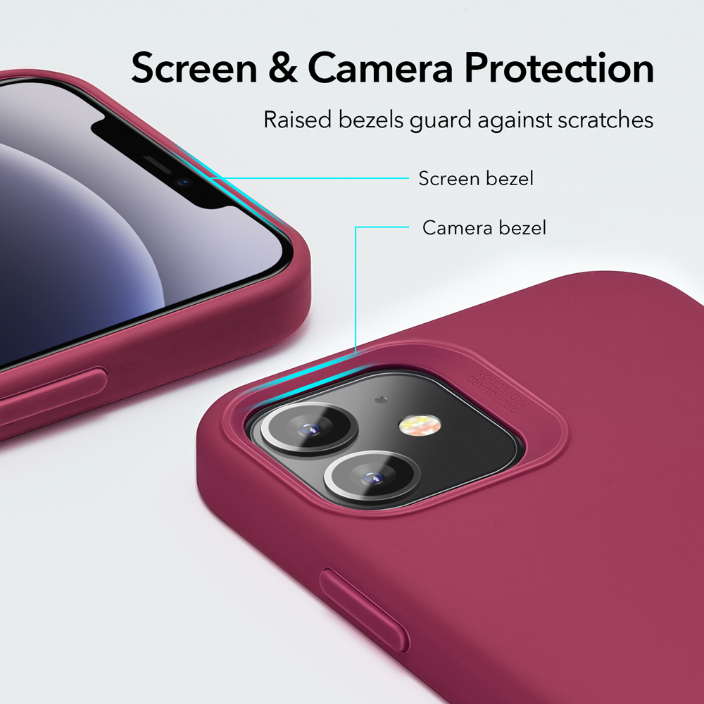 Raised bezels guard for camera and screen.