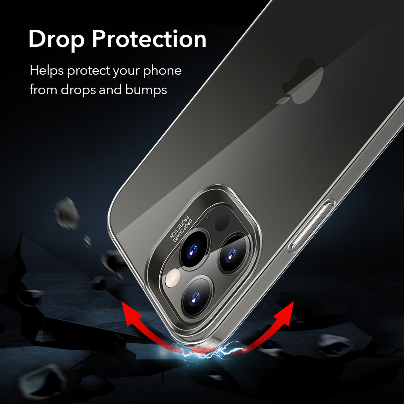 Drop protective clear back case